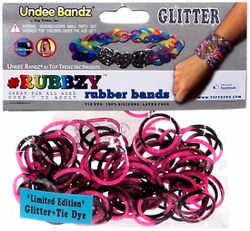 Undee Bandz Rubbzy 100 Pink & Black Glitter Tie-Dye Rubber Bands with Clips