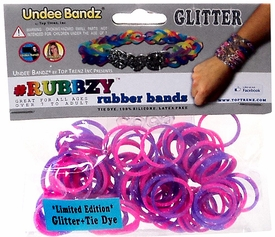 Undee Bandz Rubbzy 100 Pink & Purple Glitter Tie-Dye Rubber Bands with Clips