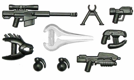 BrickArms 2.5 to 4 Inch Scale Figure Style HALO Style Weapon Pack (9 Pieces) [Halo]