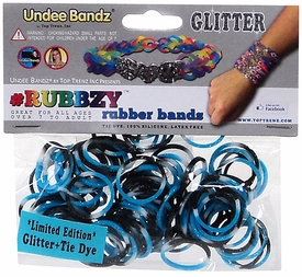 Undee Bandz Rubbzy 100 Black, White & Blue Glitter Tie-Dye Rubber Bands with Clips BLOWOUT SALE!