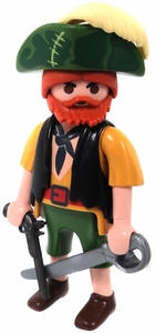 Playmobil LOOSE Mini Figure Male Pirate Red Beard, with Flintlock Pistol & Cutlass [Light Flesh]