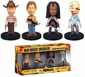 Funko Walking Dead Mini Wacky Wobbler Bobble Head Set [Rick Grimes, Michonne, Daryle Dixon & RV Walker] New!
