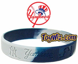 Official MLB Team Rubber Bracelet New York Yankees Marble Color