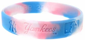 Official MLB Major League Baseball Team Rubber Bracelet New York Yankees Marble Color Pink, White & Blue