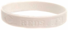 Official MLB Major League Baseball Team Rubber Bracelet Cincinnati Reds [White]