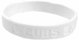 Official MLB Major League Baseball Team Rubber Bracelet Chicago Cubs [White]