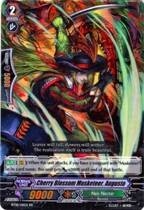 Cardfight Vanguard ENGLISH Blue Storm Armada Single Card RR Rare BT08-011 Cherry Blossom Musketeer, Augusto