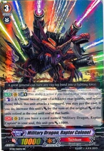 Cardfight Vanguard ENGLISH Blue Storm Armada Single Card RR Rare BT08-016 Military Dragon, Raptor Colonel