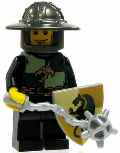 LEGO Kingdoms LOOSE Green Kingdom Mini Figure Dragon Infantry Soldier [Morningstar, Small Shield & Brimmed Helm]