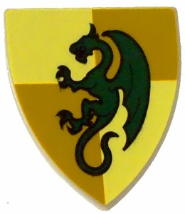 LEGO Kingdoms LOOSE Shield Small Gold & Green Dragon Shield