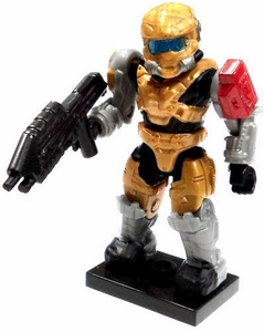 Halo Wars Mega Bloks LOOSE Mini Figure Gold UNSC Spartan Hazop with Assault Rifle