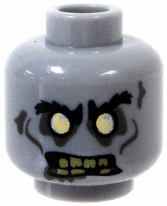 LEGO LOOSE Head Gray Zombie Head with White Eyes & Yellowed Teeth