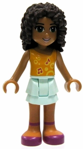 LEGO Friends LOOSE Mini Figure Andrea [Orange Top, Aqua Layered Skirt]