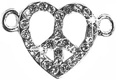 Undee Bandz Rubbzy Rhinestone Rubber Band Bracelet Charm Peace Sign Heart