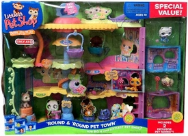 Littlest Pet Shop Exclusive Figures Deluxe Playset 'Round & 'Round Pet Town with BONUS Figures