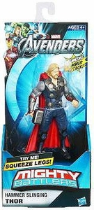 Marvel Avengers Movie Mighty Battlers Hammer Slinging Thor Damaged Package, Mint Contents!