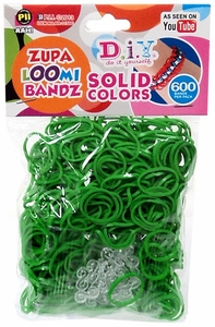 D.I.Y. Do it Yourself Bracelet Zupa Loomi Bandz 600 Green Rubber Bands with 'S' Clips