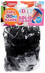 D.I.Y. Do it Yourself Bracelet Zupa Loomi Bandz 600 Black Rubber Bands with 'S' Clips