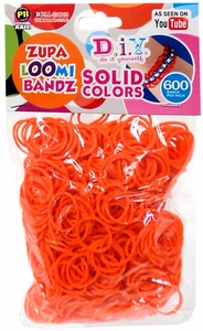 D.I.Y. Do it Yourself Bracelet Zupa Loomi Bandz 600 Orange Rubber Bands with 'S' Clips