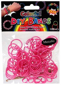 D.I.Y. Do it Yourself Bracelet Bands 100 Metallic Pink Rubber Bands with Hook Tool & Buckles
