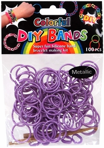 D.I.Y. Do it Yourself Bracelet Bands 100 Metallic Purple Rubber Bands with Hook Tool & Buckles BLOWOUT SALE!