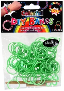 D.I.Y. Do it Yourself Bracelet Bands 100 Metallic Green Rubber Bands with Hook Tool & Buckles BLOWOUT SALE!
