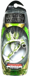 Star Wars 2009 Titanium Die-Cast Mini Vehicle Kit Fisto's Jedi Delta-7 Starfighter with Hyperspace Ring