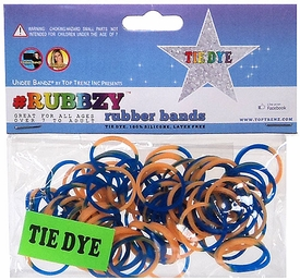 Undee Bandz Rubbzy 100 Blue & Gold Tie-Dye Rubber Bands with Clips [X]