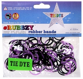 Undee Bandz Rubbzy 100 Purple & Black Tie-Dye Rubber Bands with Clips [Y]