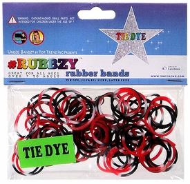Undee Bandz Rubbzy 100 Black, Red & White Tie-Dye Rubber Bands with Clips [V]