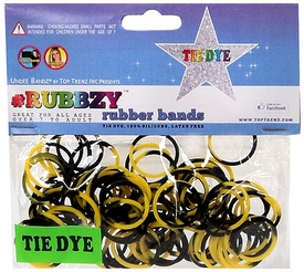 Undee Bandz Rubbzy 100 Black & Yellow Tie-Dye Rubber Bands with Clips [V]