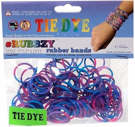 Undee Bandz Rubbzy 100 Pink, Purple & Blue Tie-Dye Rubber Bands with Clips [A]