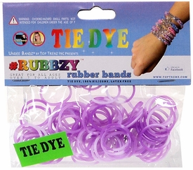 Undee Bandz Rubbzy 100 Purple & White Tie-Dye Rubber Bands with Clips [J] BLOWOUT SALE!