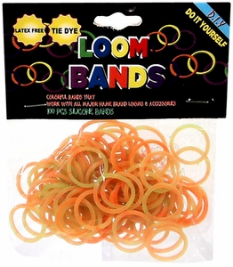 Loom Bands 100 Green & Orange Tie-Dye Rubber Bands with 'S' Clips