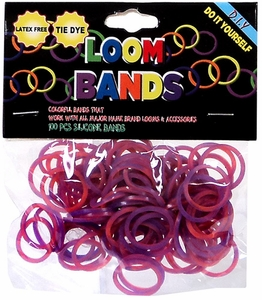 Loom Bands 100 Orange & Purple Tie-Dye Rubber Bands with 'S' Clips