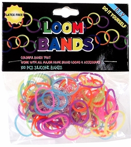 Loom Bands 100 Neon Rainbow Rubber Bands with 'S' Clips