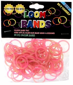Loom Bands 100 Pink & Green Tie-Dye Rubber Bands with 'S' Clips