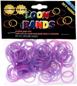Loom Bands 100 Pink & Purple Tie-Dye Rubber Bands with 'S' Clips