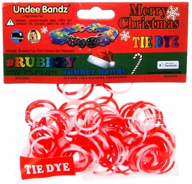 Undee Bandz Rubbzy 100 Christmas Red & White Tie-Dye Rubber Bands with Clips BLOWOUT SALE!