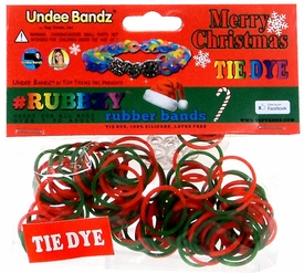 Undee Bandz Rubbzy 100 Christmas Red & Green Tie-Dye Rubber Bands with Clips BLOWOUT SALE!