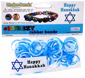 Undee Bandz Rubbzy 100 Hanukkah White & Blue Tie-Dye Rubber Bands with Clips BLOWOUT SALE!