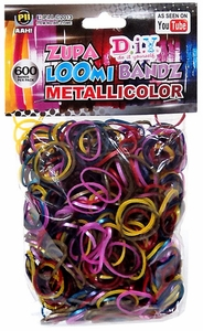D.I.Y. Do it Yourself Bracelet Zupa Loomi Bandz 600 Metallicolor Multi-Color Rubber Bands with 'S' Clips