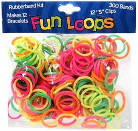 Fun Loops 300 Neon Rubber Bands with 'S' Clips