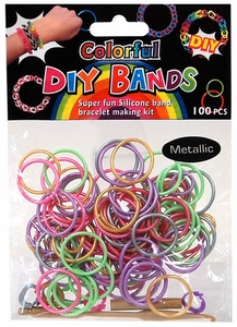 D.I.Y. Do it Yourself Bracelet Bands 100 Metallic Rainbow Rubber Bands with Hook Tool & Buckles BLOWOUT SALE!