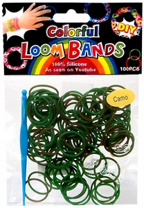 D.I.Y. Do it Yourself Bracelet Bands 100 Green & Brown Camo Rubber Bands with Hook Tool & Clips