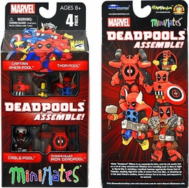 Marvel Minimates 2013 SDCC San Diego Comic Con Exclusive Mini Figure 4-Pack Deadpools Assemble [Captain Ameri-Pool, Thor-Pool, Cable-Pool & Iron Deadpool]