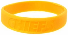Official National Football League NFL Team Rubber Bracelet Kansas City Chiefs Gold
