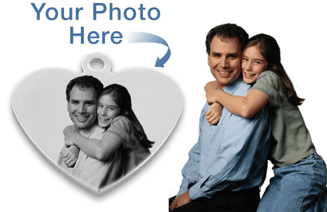 Small Heart Photo / Picture Engraved Pendant - Custom