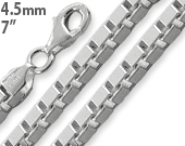 "Sterling Silver 7"" Box Chain Bracelet - 4.5MM"