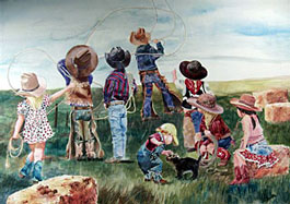 Linda Loeschen - Learning The Ropes - Western Print